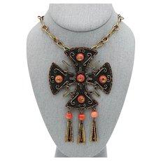 Cross Necklace Copper & Glass Pendant MASSIVE