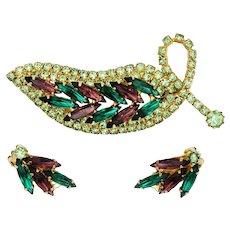Purple & Green Rhinestone Brooch Earring Jewelry Set