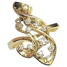 .36 cttw Diamonds in Stylized Freeform Yellow Gold 14K Ring