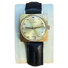 """1970s Helbros """"Invincible"""" Gold Tone Wristwatch"""