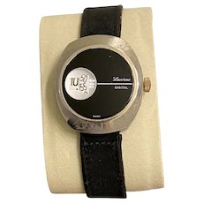 Lucerne 1970's Digital Black & Stainless Direct Read Jump Hour Windup Swiss Watch
