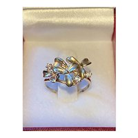 Queen Plumeria Triple Flower Tri Gold Ring with Diamond