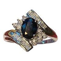 Deep London Blue Topaz & Diamond Ring 14K White Gold