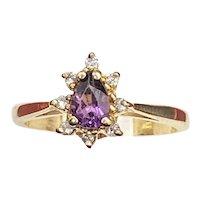 10K Gold Starburst Amethyst & Diamond Ring