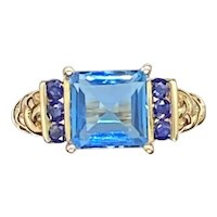 Princess Cut Blue Topaz and Iolite Ring in 10K Yellow Gold