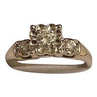 14k White Gold  Diamonds 3 Stone Ring