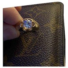 14k Yellow gold Men's/Unisex Solitaire Belcher Moissanite Ring 1.5 ctw