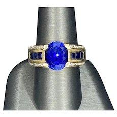 Estate 14k Ceylon Sapphire Diamond Ring