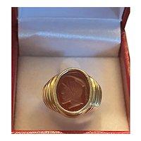 Antique 14K Yellow Gold Intaglio Warrior Red Carnelian Ring