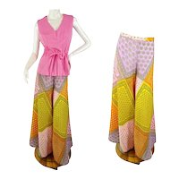 1960s/70s palazzo pants and top patchwork print wide leg size M