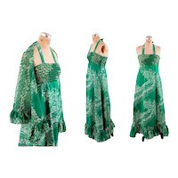 Boho 1970s maxi dress tube top green white floral cotton halter dress with shawl Size M