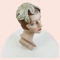 1950s Bridal Cap white sequin leaves close hat
