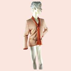 St. John Knits sweater jacket orange cream chain pattern with matching crocheted scarf Size M
