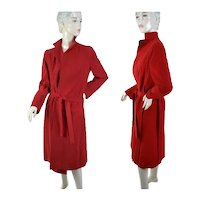 1980s A Trigere red suede wrap coat and Ave Schrader skirt set Size M