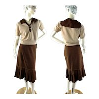 1950s wool pleated skirt and cropped sweater by Nardis of Dallas