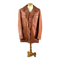 1970s men's leather jacket with zip out fur lining Size 46 Tall caramel brown