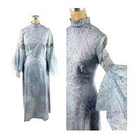 1970s maxi dress Hawaiian print metallic printed butterflies Alfred Sheehan Size M