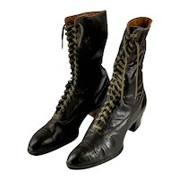 1915s brown leather lace up boots by Goodyear Size 8 N