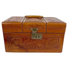 1930s 40s Tooled leather travel case toiletry luggage