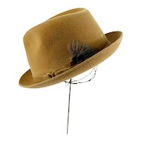 1950s Wool felt fedora with box by Dobbs tan color with feather and harness size 7 1/8