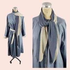 1980s trench coat reversible rain coat steel blue and ivory with attached pleated scarf by Raincheetahs Size L