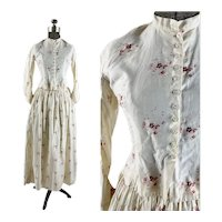 1880s Bodice and Skirt pink floral cotton