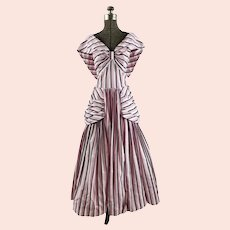 1940s Striped Gown off shoulder with Bustle hip and back bow