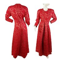 1980s Victor Costa red matelasse brocade gown size M
