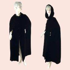 1960s Black Velvet hooded cape full length