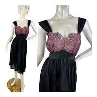 1950s slip nightgown black and pink nylon lace rhinestone bodice by Duchess