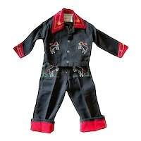 1950s toddler western outfit black red denim embroidered horses Walls Western Wear