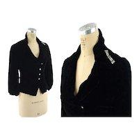 1930s black silk velvet jacket with Art Deco rhinestone brooch