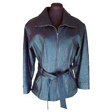 Vintage black leather fitted jacket