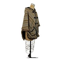 1960s Reversible wool Poncho cape with hood