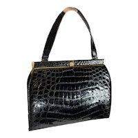 1950s black Crocodile handbag pocketbook