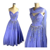 1950s Beaded sequin Tulle Gown in lilac