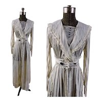 Edwardian 1910s tea dress gray and white striped semi sheer voile with jet buttons Size S/M