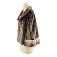 1960s faux fur cape wrap stole brown with contrast ombre' fur by Glenoit VEGAN