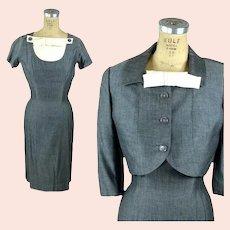 1950s Gray Silk Dress and jacket herringbone with detachable dickie