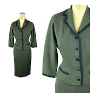1950s wool suit green black checked Made in France