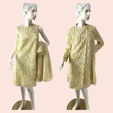 1960s soutache lace ivory pale yellow dress and coat wedding dress set Size S/M