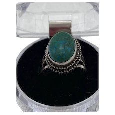 """Sterling Silver .950 """"South Western Style"""" Oval Turquoise Ring, Size 8 Adjustable"""