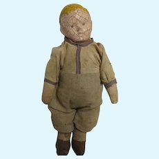 1900's Carnival & Novelty Boy Doll With Composition Head And Hay Filled Cloth Body
