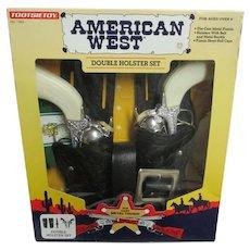 Vintage 1995 Tootsie Toy American West Double Holster Die Cast Gun Set