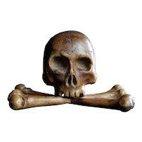 Early 19th Century Walnut Skull and Bone