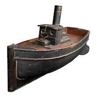Scratch-built clockwork tugboat