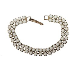 Vintage bracelet-double row of small white prong set linked beads