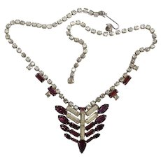 Purple and clear prong set rhinestones vintage necklace