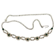 Clear and green flower design prong set rhinestone vintage necklace