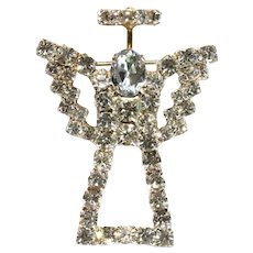 Clear rhinestone angel outline with halo vintage brooch-prong set stones